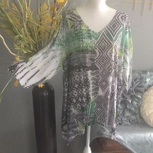 Tops - Green/Black flowing top w sparkle.